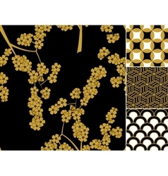 Japanese seamless pattern set with traditional vector