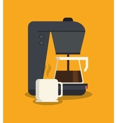 Kettle mug and machine of coffee shop design vector