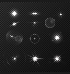lens black white flares set vector image