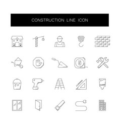 line icons set construction pack vector image