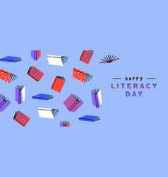 Literacy day web banner color retro book cartoon vector