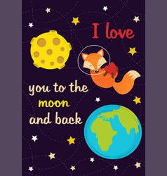 love card with fox in space vector image
