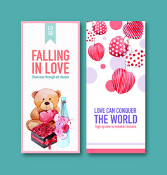 Love flyer design with doll rose heart watercolor vector