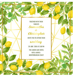 Luxury wedding invitation card with lemon brunches vector