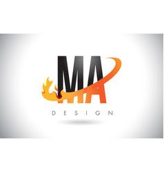 Ma m a letter logo with fire flames design and vector