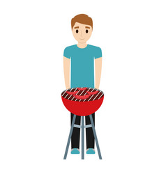 Man with barbecue grill vector