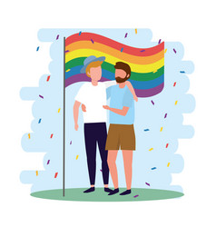 men couple with rainbow flag to lgbt parade vector image
