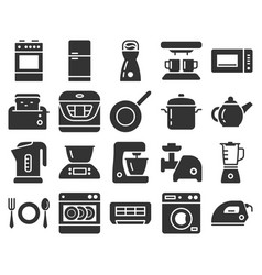 Monochromatic icons set some kitchen utensils vector