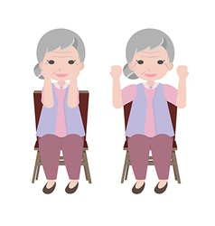 Old woman exercise vector image