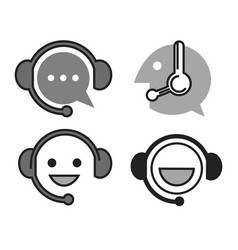 Online support monochrome icons with head vector