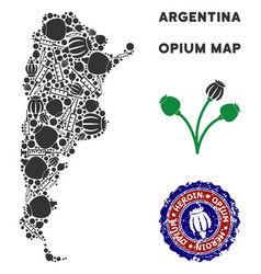 Opium drugs argentina map collage vector