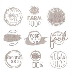 Organic farm food grey logo set vector