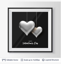 Pair of 3d heart shaped silver air balloons vector