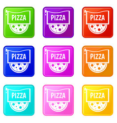 pizza badge or signboard set 9 vector image