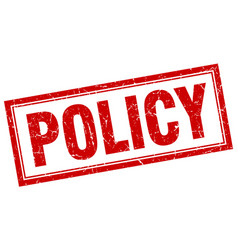 Policy red square grunge stamp on white vector