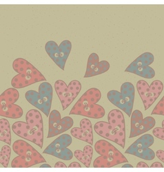Polka dots hearts seamless pattern vector image