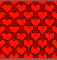red hearts love seamless background pattern vector image