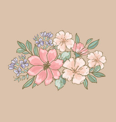 retro flowers floral bouquet hand drawn ill vector image