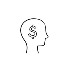 rich brain in the head hand drawn sketch icon vector image