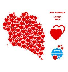 Romantic koh phangan thai island map vector