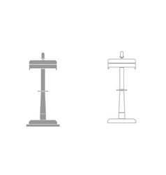 rostrum with one microphone grey set icon vector image