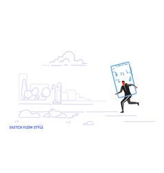runner man using online mobile application vector image