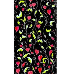 seamless dark line flowers vector image