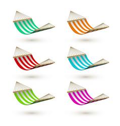 set colorful hammock template striped hammocks vector image