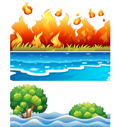 Set natural disaster scene vector