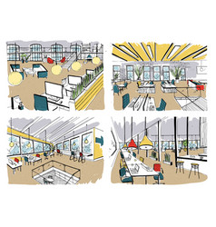 Set of hand drawn coworking modern office vector
