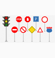 set of road signs and traffic light vector image