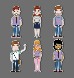 set people with hairstyle and casual clothes vector image