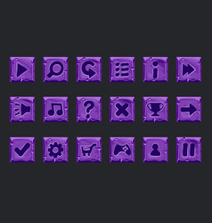 set purple stone buttons for web or game vector image