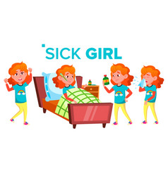 Sick girl schoolgirl ill child teenage vector