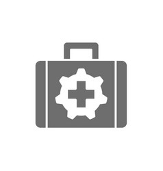 Technical assistance suitcase grey icon vector