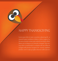 thanksgiving card with turkey eps10 design vector image