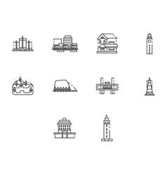 Thin line world travel icon set vector