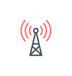 transmitter antenna communication tower icon wifi vector image