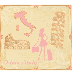 Travel girl in Italy vector