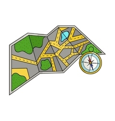 Travel map and compass icon in cartoon style vector image