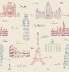 travel seamless pattern europe vacation wallpaper vector image