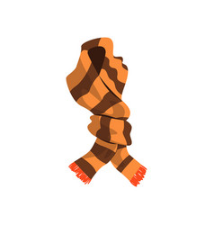 twisted striped scarf in brown color with orange vector image
