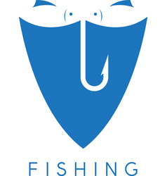 Two fishes and hook in the shield design template vector