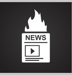 Video blog content icon on black background for vector