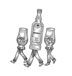 whiskey walks on its feet sketch engraving vector image