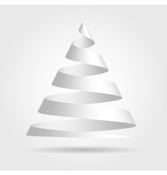 White paper ribbon folded in a shape of Christmas vector