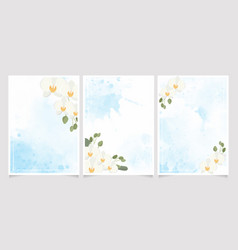 white phalaenopsis orchid on blue watercolor vector image