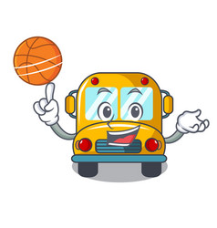 with basketball school bus character cartoon vector image
