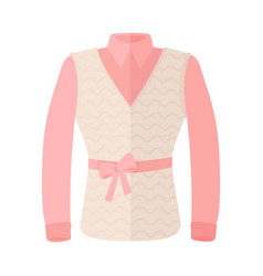 Woman blouse with warm sleeveless and bow on belt vector