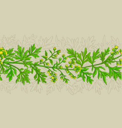 wormwood plant pattern on color background vector image